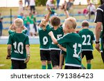 kids celebrating soccer victory.... | Shutterstock . vector #791386423