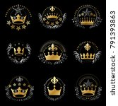 royal crowns emblems set.... | Shutterstock .eps vector #791393863