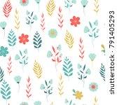flowers seamless pattern... | Shutterstock .eps vector #791405293
