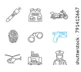 police linear icons set....