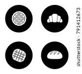 bakery glyph icons set. pie ... | Shutterstock .eps vector #791412673