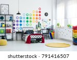 spacious kid room with dots... | Shutterstock . vector #791416507