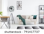 dark green blanket on cream... | Shutterstock . vector #791417737