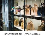 fashion woman handbags on the... | Shutterstock . vector #791422813
