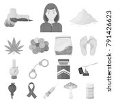 drug addiction and attributes...   Shutterstock .eps vector #791426623