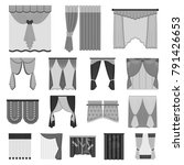 different kinds of curtains... | Shutterstock .eps vector #791426653