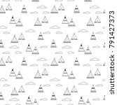 indian teepee seamless vector... | Shutterstock .eps vector #791427373