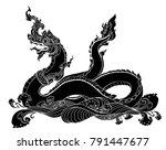 hand drawn thai dragon on water ... | Shutterstock .eps vector #791447677