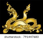 hand drawn thai dragon on water ... | Shutterstock .eps vector #791447683
