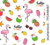 seamless pattern of cute summer ... | Shutterstock .eps vector #791448487