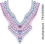 neckline ethnic design. lace... | Shutterstock .eps vector #791454583