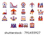 amusement park icons set | Shutterstock .eps vector #791455927
