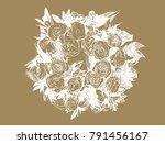 black   white roses wreath... | Shutterstock . vector #791456167