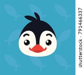 penguin emotional head. vector... | Shutterstock .eps vector #791466337