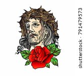 son of god jesus christ. tatto... | Shutterstock .eps vector #791479573