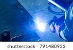 welding with sparks by process... | Shutterstock . vector #791480923