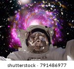 astronaut in outer space. the... | Shutterstock . vector #791486977