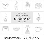 Hand Drawn Logo Elements And...