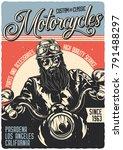 vintage poster. motorcycle... | Shutterstock .eps vector #791488297