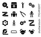 mechanical icons. set of 16... | Shutterstock .eps vector #791493397
