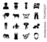 male icons. set of 16 editable... | Shutterstock .eps vector #791495227