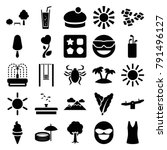 summer icons. set of 25... | Shutterstock .eps vector #791496127