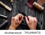 work in leather shop on dark... | Shutterstock . vector #791496973