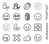 positive icons. set of 16... | Shutterstock .eps vector #791497327