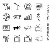 broadcast icons. set of 16... | Shutterstock .eps vector #791498773