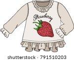 cute strawberry sweater | Shutterstock .eps vector #791510203