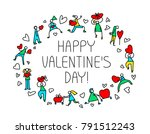 valentine day greeting card... | Shutterstock .eps vector #791512243