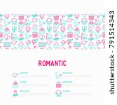 romantic concept with thin line ... | Shutterstock .eps vector #791514343