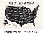poster map of united states of... | Shutterstock .eps vector #791515057