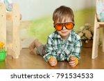 cute boy portrait in a easter  | Shutterstock . vector #791534533