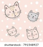 cute kitten faces  illustration ... | Shutterstock .eps vector #791548927
