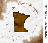 minnesota watercolor us state... | Shutterstock .eps vector #791558083
