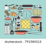 hand drawn illustration cooking ... | Shutterstock .eps vector #791584213