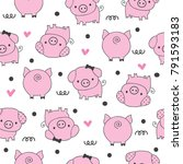 seamless pattern with pig ... | Shutterstock .eps vector #791593183