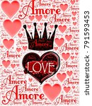 amore words with red heart... | Shutterstock . vector #791593453