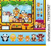 modern cute animal toy picker... | Shutterstock .eps vector #791597587