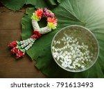 songkran water bowl decorating... | Shutterstock . vector #791613493