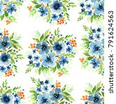 floral watercolor seamless... | Shutterstock . vector #791624563