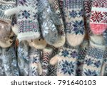 mittens on the winter christmas ... | Shutterstock . vector #791640103