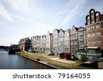 Architecture in Gdansk, Poland, harbor - stock photo