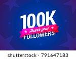 100k followers card. vector...   Shutterstock .eps vector #791647183