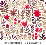watercolor floral seamless... | Shutterstock . vector #791662543