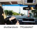 saudi woman driving a car in... | Shutterstock . vector #791666467