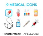 set of medical icons... | Shutterstock .eps vector #791669053