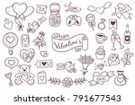 set of cute hand drawn elements ... | Shutterstock .eps vector #791677543