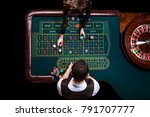 top view of the casino croupier ... | Shutterstock . vector #791707777